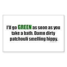 I'll Go GREEN Rectangle Sticker