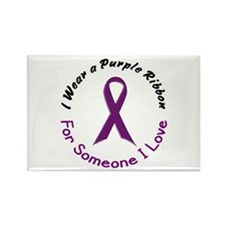 Purple Ribbon For Someone I Love 4 Rectangle Magne