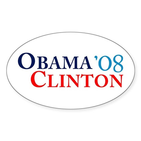 Obama Clinton '08 Oval Sticker