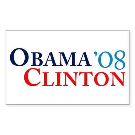 Obama Clinton '08 Rectangle Sticker