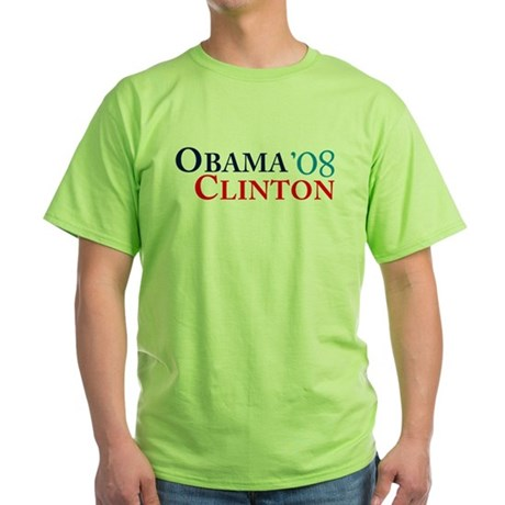 Obama Clinton '08 Green T-Shirt