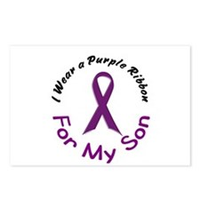 Purple Ribbon For My Son 4 Postcards (Package of 8