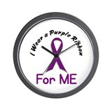 Purple Ribbon For ME 4 Wall Clock