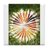 Carrots of Many Colors Tile Coaster