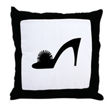 Black Pom Pom Shoe - Throw Pillow