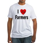 I Love Farmers for Farm Lovers (Front) Fitted T-Sh