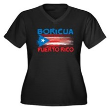 Puerto Rico Stripes Women's Plus Size V-Neck Dark