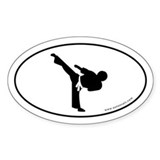 Martial Arts Euro Bumper Oval Sticker -White