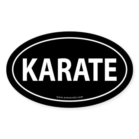 Karate Euro Bumper Oval Sticker -Black