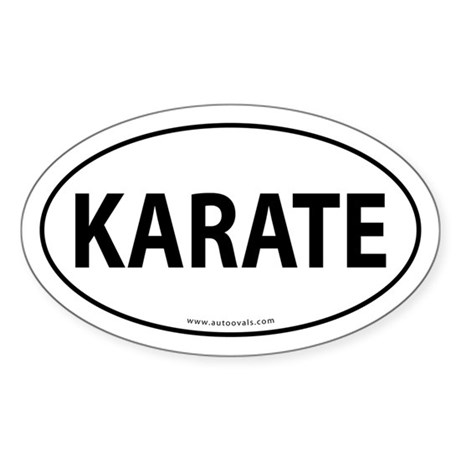 Karate Euro Bumper Oval Sticker -White