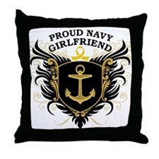 Proud Navy Girlfriend Throw Pillow