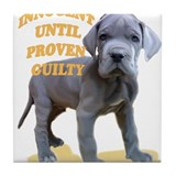blue dane puppy Tile Coaster