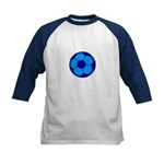 Blue Soccer Ball Kids Baseball Jersey