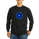 Blue Soccer Ball Long Sleeve Dark T-Shirt