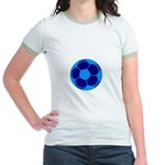 Blue Soccer Ball Jr. Ringer T-Shirt