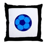 Blue Soccer Ball Throw Pillow
