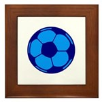 Blue Soccer Ball Framed Tile