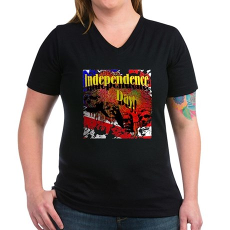 Independence Day Women's V-Neck Dark T-Shirt