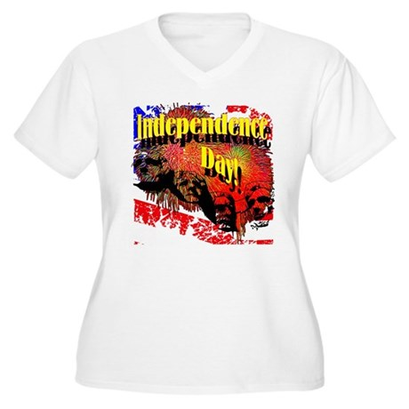 Independence Day Women's Plus Size V-Neck T-Shirt