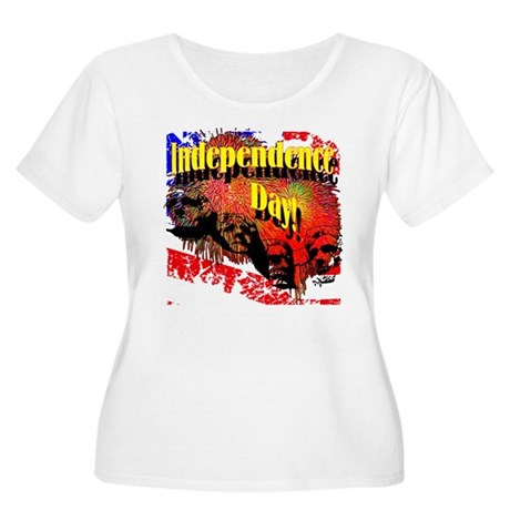 Independence Day Women's Plus Size Scoop Neck T-Sh
