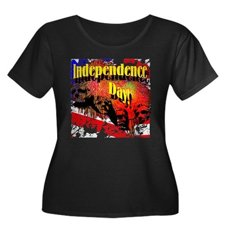 Independence Day Women's Plus Size Scoop Neck Dark