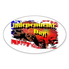Independence Day Oval Sticker
