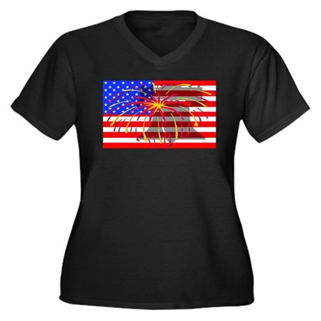 4th of July Independence Women's Plus Size V-Neck