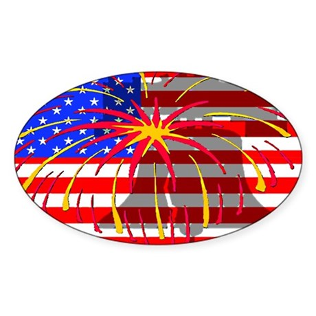 4th of July Independence Oval Sticker