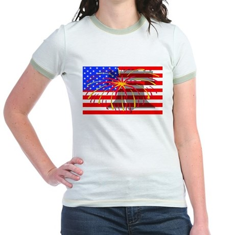 4th of July Independence Jr. Ringer T-Shirt