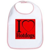 I Love Hotdogs Bib