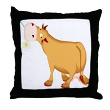 Cow with Flower Throw Pillow