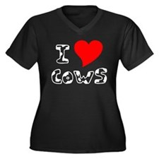 White I Heart Cows Women's Plus Size V-Neck Dark T