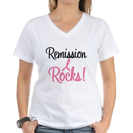 Remission Rocks Breast Cancer Women's V-Neck T-Shi
