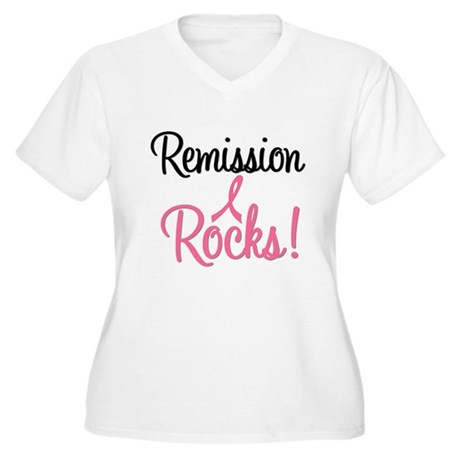 Remission Rocks Breast Cancer Women's Plus Size V-