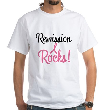 Remission Rocks Breast Cancer White T-Shirt