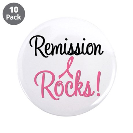 Remission Rocks Breast Cancer 3.5&quot; Button (10 pack
