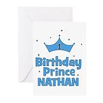 1st Birthday Prince Nathan! Greeting Cards (Pk of