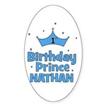 1st Birthday Prince Nathan! Oval Sticker