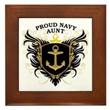 Proud Navy Aunt Framed Tile