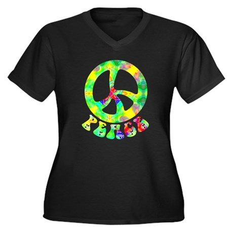 Flower Child Peace Women's Plus Size V-Neck Dark T