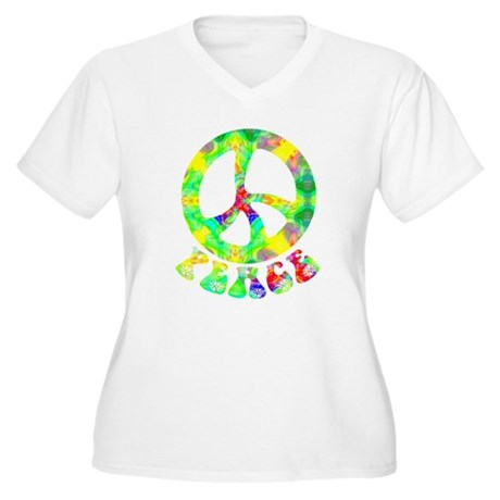 Flower Child Peace Women's Plus Size V-Neck T-Shir