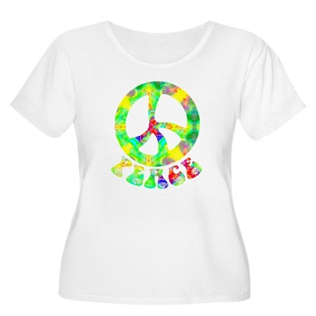 Flower Child Peace Women's Plus Size Scoop Neck T-