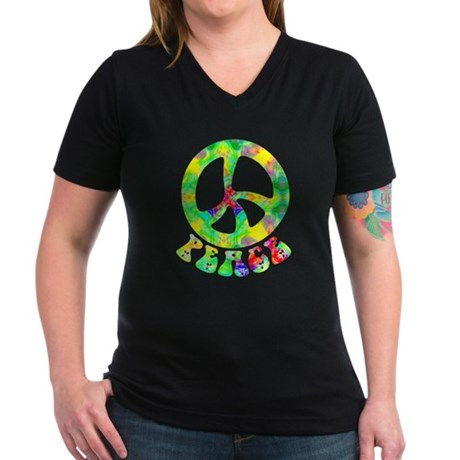Flower Child Peace Women's V-Neck Dark T-Shirt