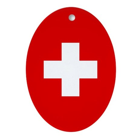 SWISS CROSS FLAG Keepsake (Oval)