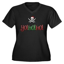 Yo Ho Ho! X-Mas Women's Plus Size V-Neck Dark T-Sh