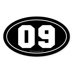 #09 Euro Bumper Oval Sticker -Black