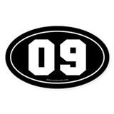 #09 Euro Bumper Oval Sticker -Black
