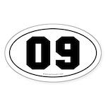 #09 Euro Bumper Oval Sticker -White