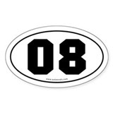 #08 Euro Bumper Oval Sticker -White