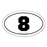 #8 Euro Bumper Oval Sticker -White